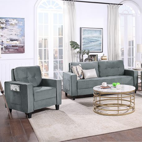 Morden Style Upholstered Sectional Sofa Set, 1+2 Seat