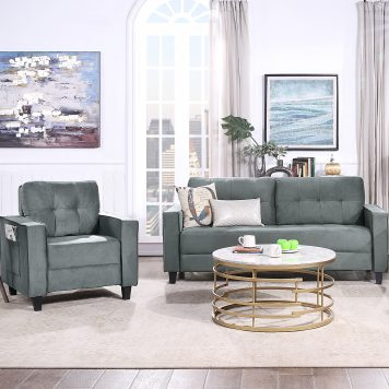 Morden Style Upholstered Sectional Sofa Set, 1+3 Seat