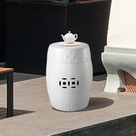 White Ceramic Garden Stools 4060