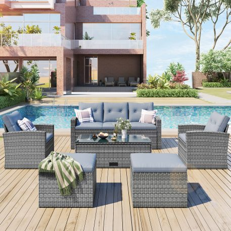 6-Piece PE Rattan Patio Sectional Set With Coffee Table