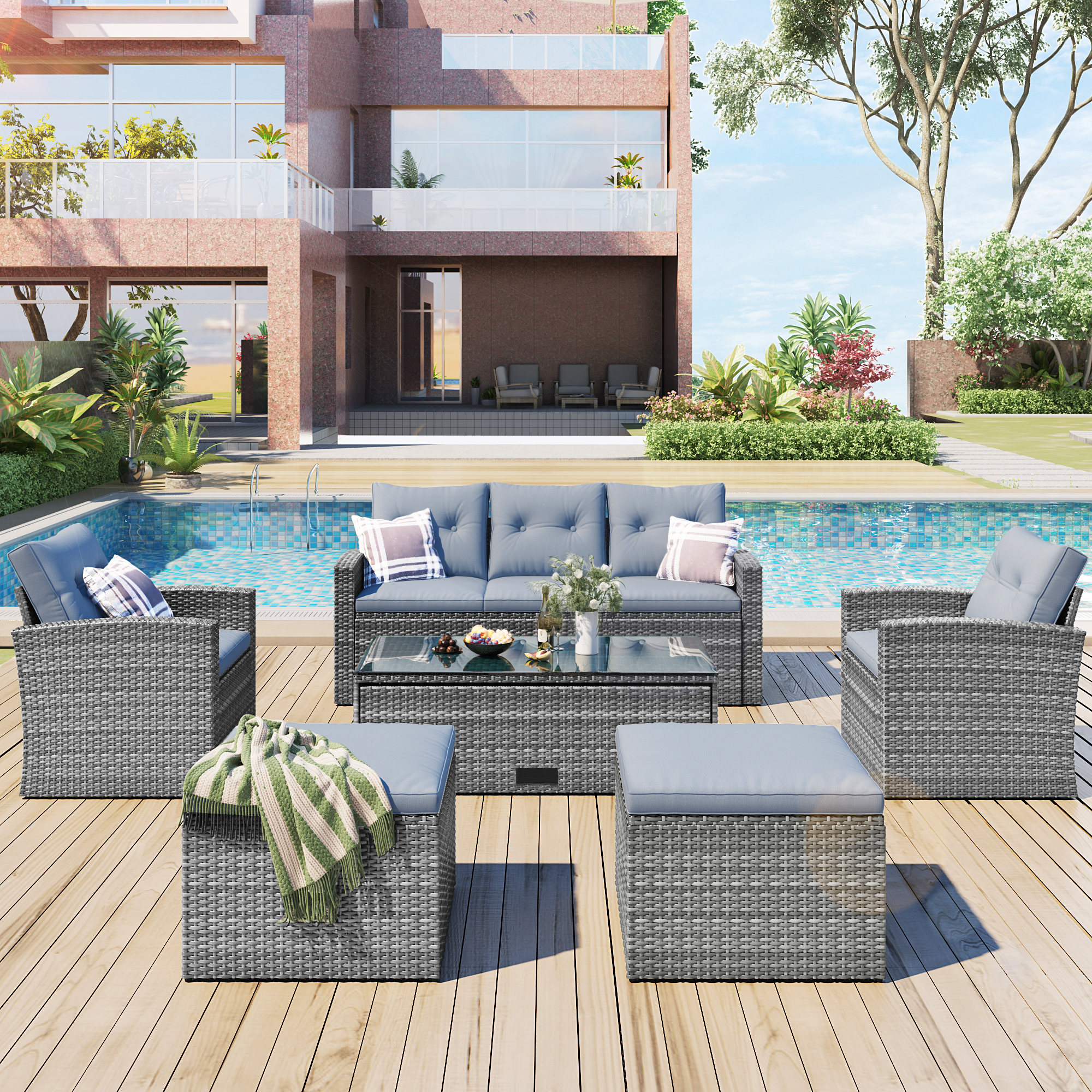 6-piece All-weather Wicker Pe Rattan Patio Outdoor Dining Conversation Sectional Set With Coffee Table, Wicker Sofas, Ottomans,  Removable Cushions Dark Grey Wicker, Light Grey Cushion