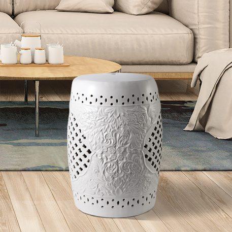 White Ceramic Garden Stools 4066