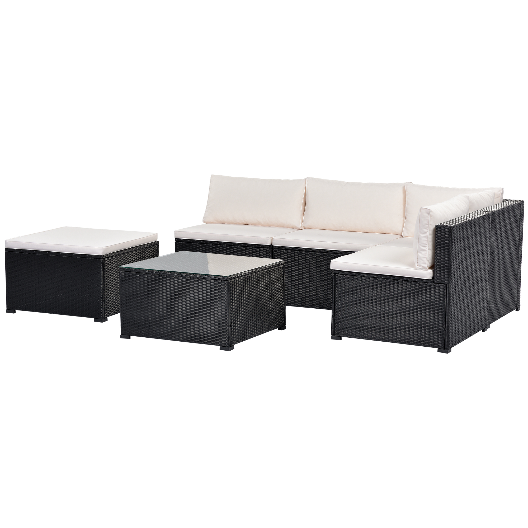 6-piece Outdoor Furniture Set With Pe Rattan Wicker, Patio Garden Sectional Sofa Chair, Removable Cushions Black Wicker, Beige Cushion