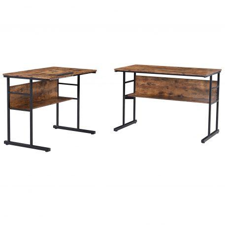 Home Office L-Shaped Desk With Bottom Bookshelves