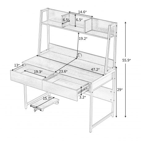 Home Office Computer Desk With Bookshelf
