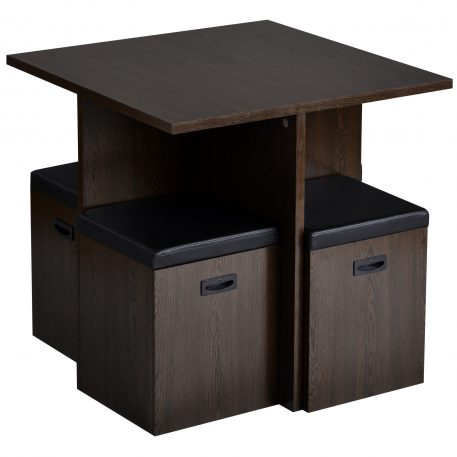 5-Piece Dining Set With 4 Storage Ottomans