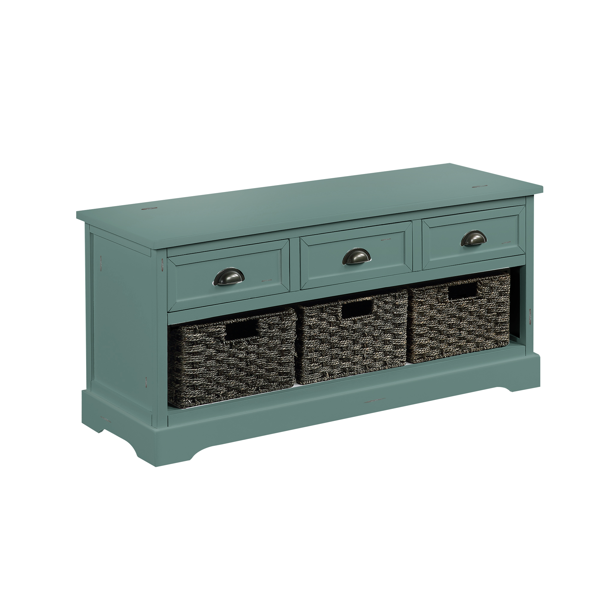 Homes Collection  Wood Storage Bench With 3  Drawers And 3 Woven Baskets