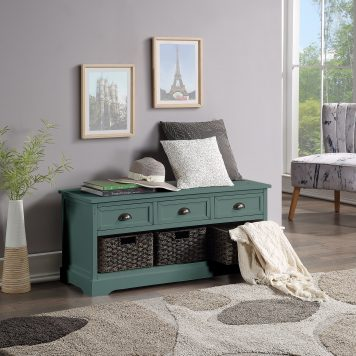 Wood Storage Bench With 3 Drawers and 3 Woven Baskets