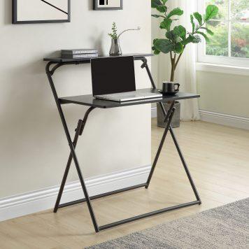 2-Tier Small Folding Desk With Shelf