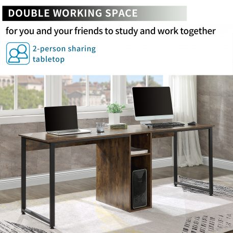 Home Office 2-Person Writing Desk With Storagetiger