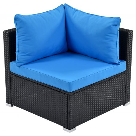 6-Piece Patio Furniture Set corner sofa set with thick removable cushions