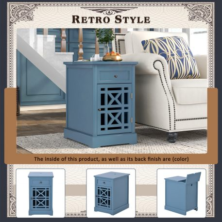 Retro End Table With Hidden Storage Area For Usb Port