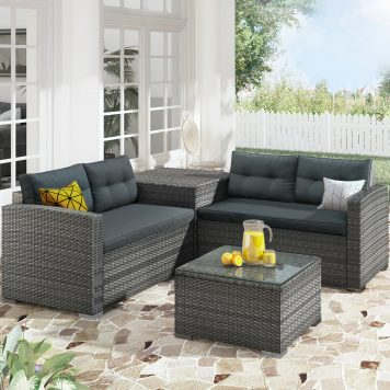 Outdoor Furniture Sofa Set With Large Storage Box