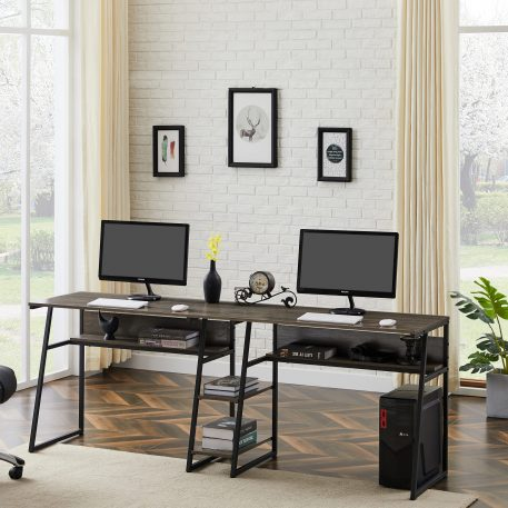 Two Person Desk with Open Bookshelf and Storage Shelf