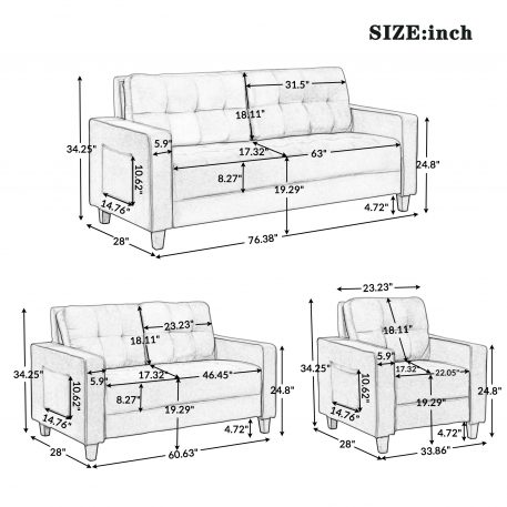 Morden Style Sectional Sofa Set - 1+2+3-Seat