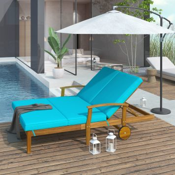 Outdoor Double Chaise Lounge Chair for 2 Persons