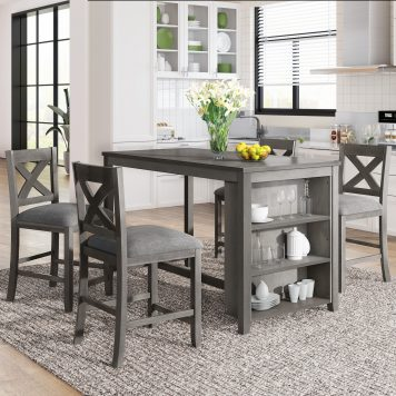 5 Pieces Counter Height Rustic Farmhouse Dining Room Wooden Bar Table Set With 4 Chairs