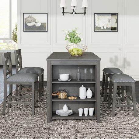 5 Pieces Counter Height Rustic Farmhouse Dining Room Wooden Bar Table Set With 2 Stools And 2 Chairs