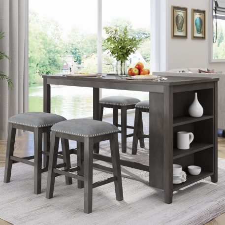 5 Pieces Counter Height Rustic Farmhouse Dining Room Wooden Bar Table Set With 4 Stool