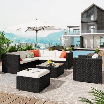 8-Piece Patio Wicker Corner Sofa With Cushions, Ottoman And Coffee Table
