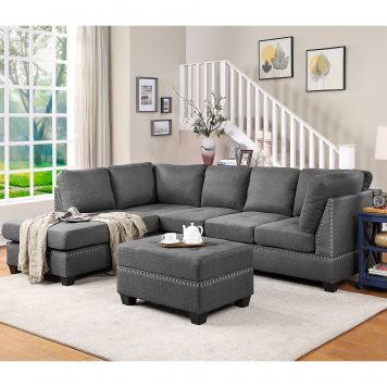 Reversible Sectional Sofa Space Saving with Storage