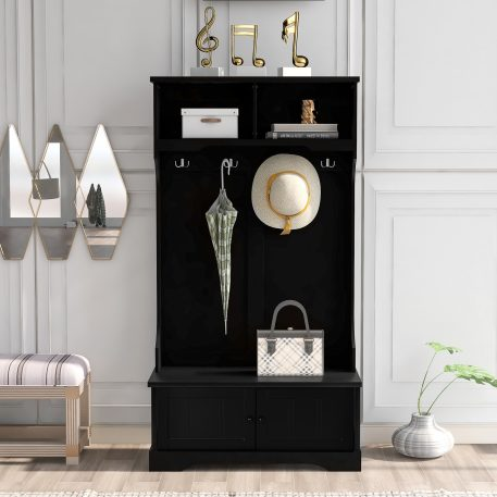 Entryway Bench with Shelves Cabinet and Four Hooks