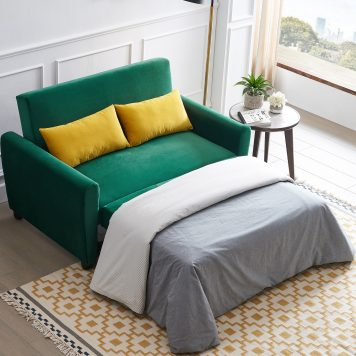 Velvet Sofa with Pull-Out Bed Sleeper Sofa