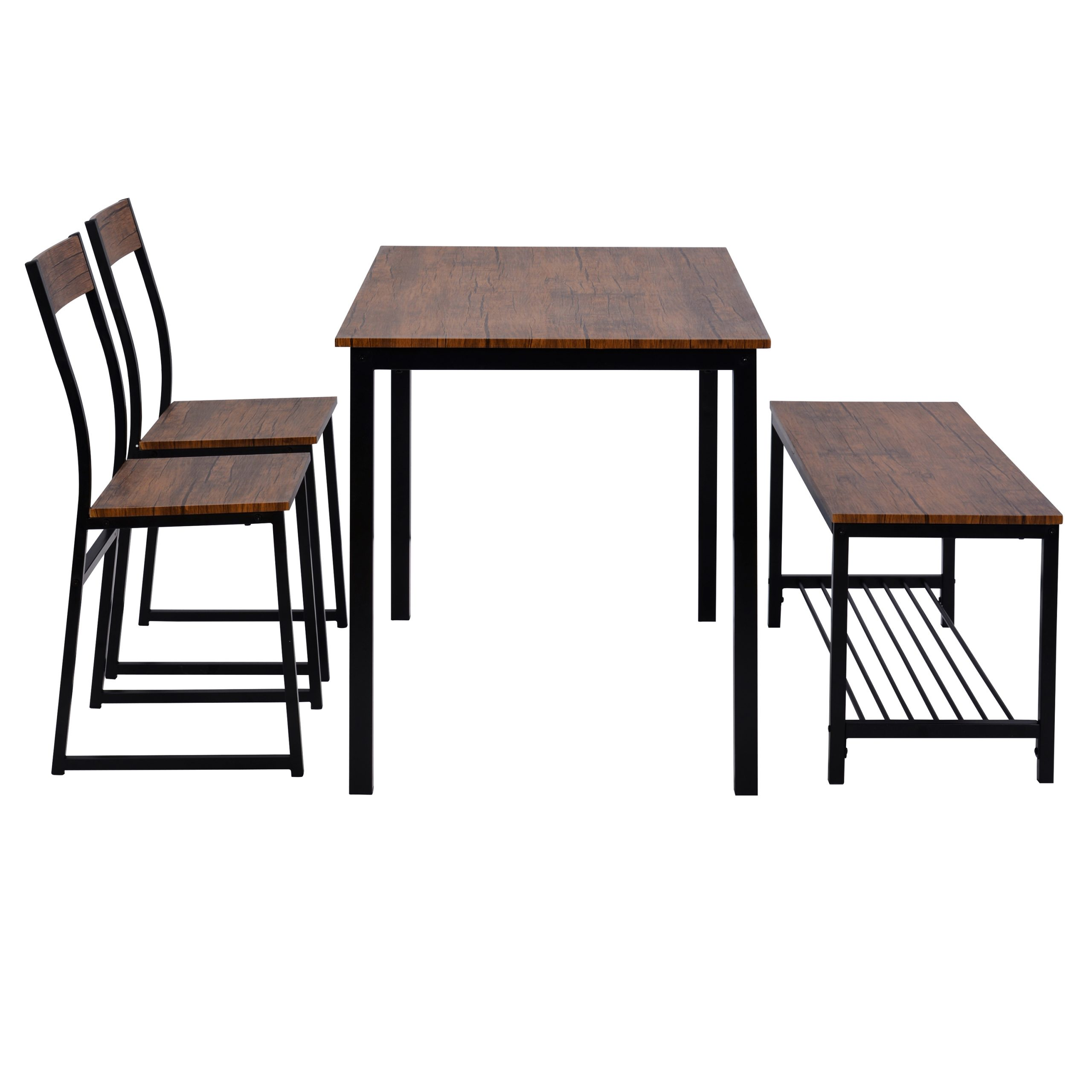 4 Kitchen Table Set, Computer Desk with 2 Chairs and Bench