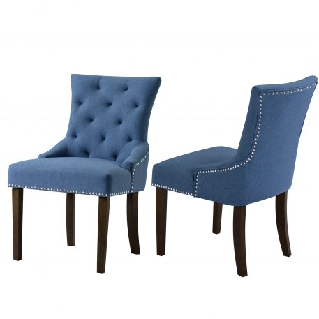 Leisure Padded Chair With Armrest, Nailed Trim, Set Of 2