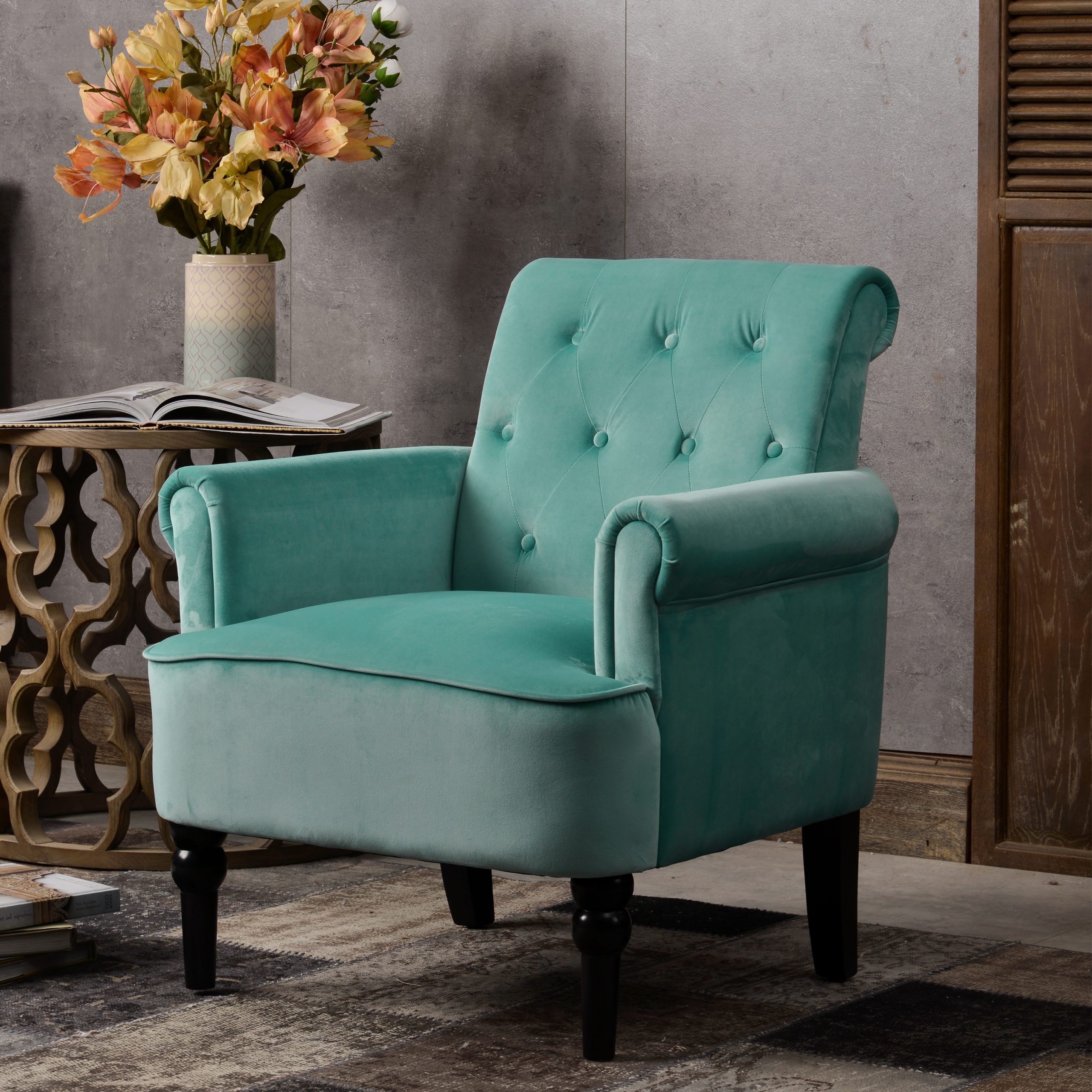 Elegant Armchairs with Wooden Legs