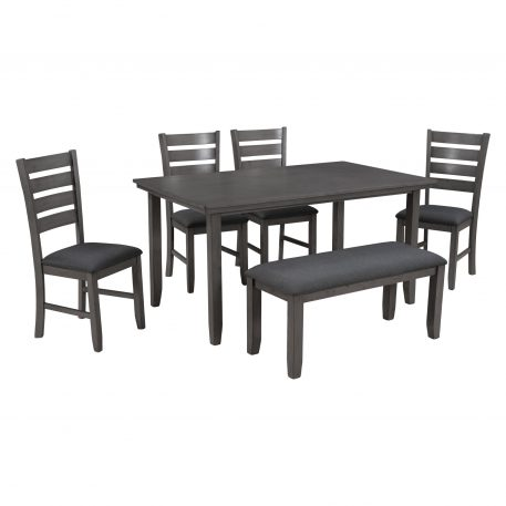 Dining Room Table And Chairs With Bench, Rustic Wood Dining Set, Set Of 6