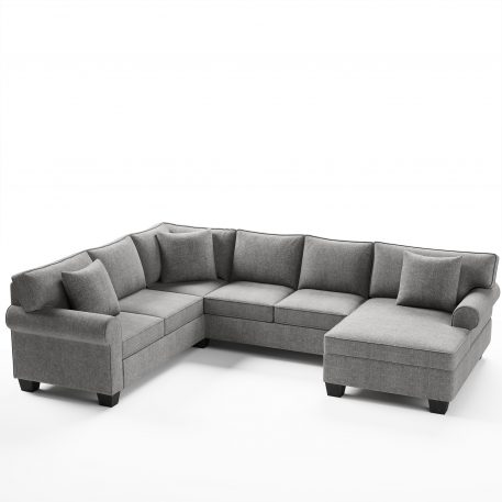 3 Pcs Chenille Sectional Sofa, 3 Pillows Included