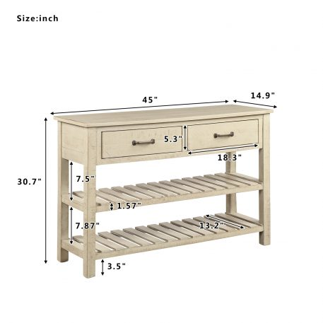 Retro Console Table With Drawers And Shelf
