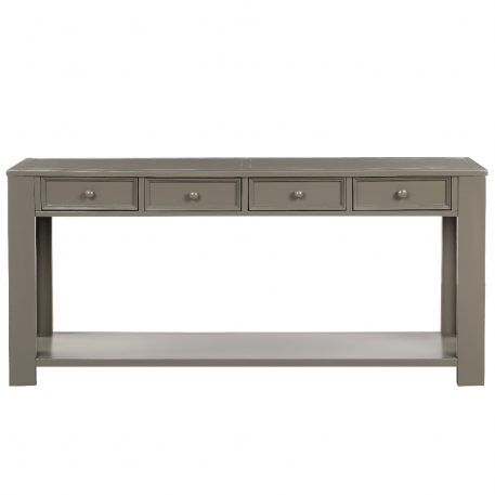 Console Table With Storage Drawers And Bottom Shelf