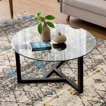 Round Glass Coffee Table With Tempered Glass Top and Sturdy Wood Basees