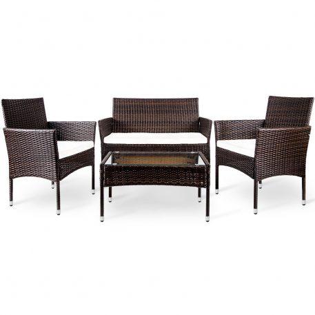 4 Piece Outdoor Rattan Patio Furniture Set