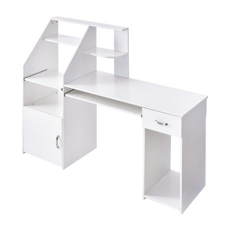 Multi-functions Computer Desk With Cabinet White