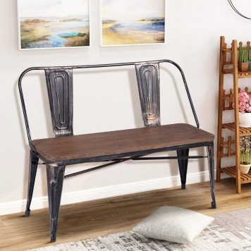 Rustic Vintage Style Distressed Dining Table Bench