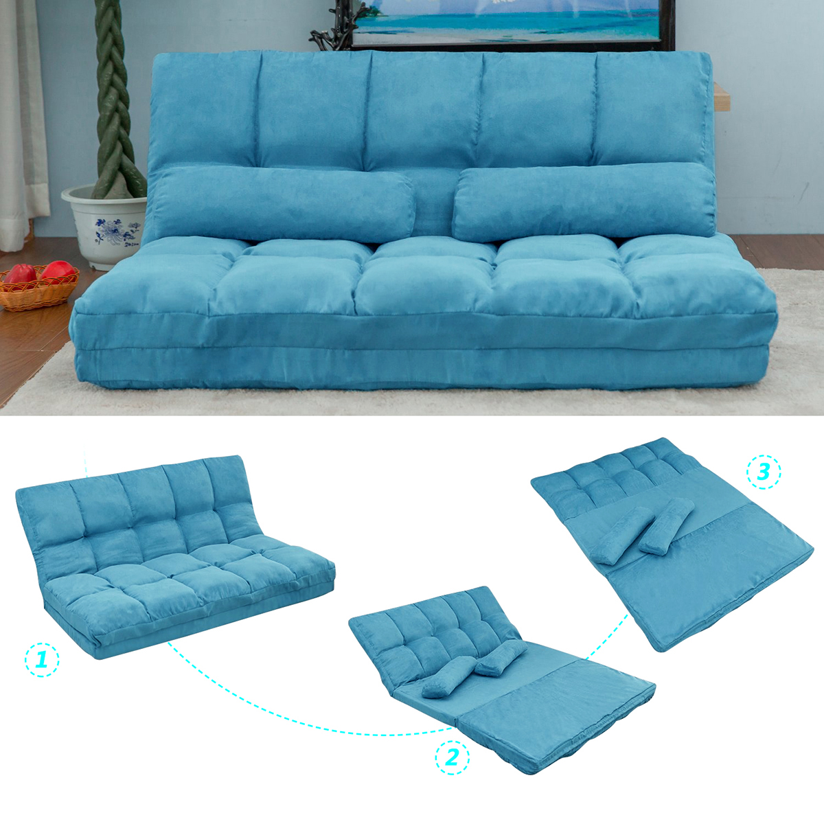 Double Chaise Lounge Sofa With Two Pillows