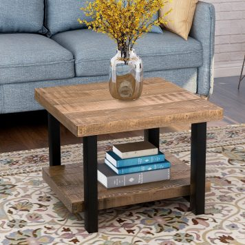 """22""""x22"""" Rustic Natural Coffee Table With Storage Shelf"""