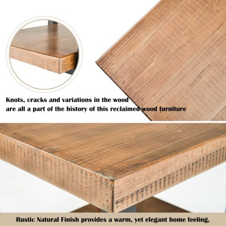 """26""""X26"""" Rustic Natural Coffee Table With Storage Shelf"""