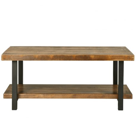 Rectangle Rustic Natural Coffee Table With Storage Shelf