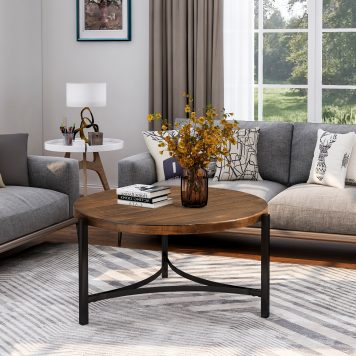 """35.4"""" Round Coffee Table, Industrial Style"""