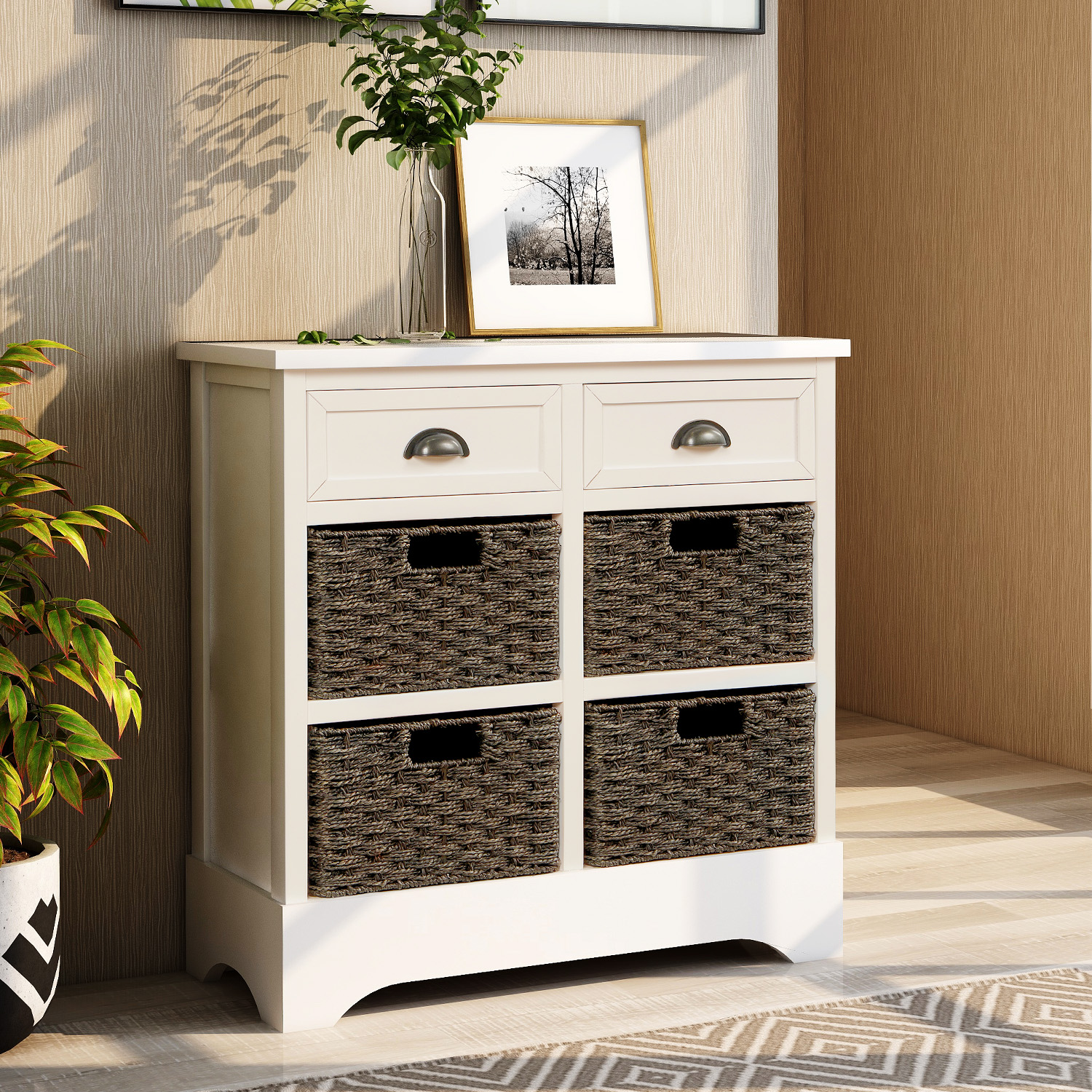 Rustic Storage Cabinet With Two Drawers And Four Rattan Basket
