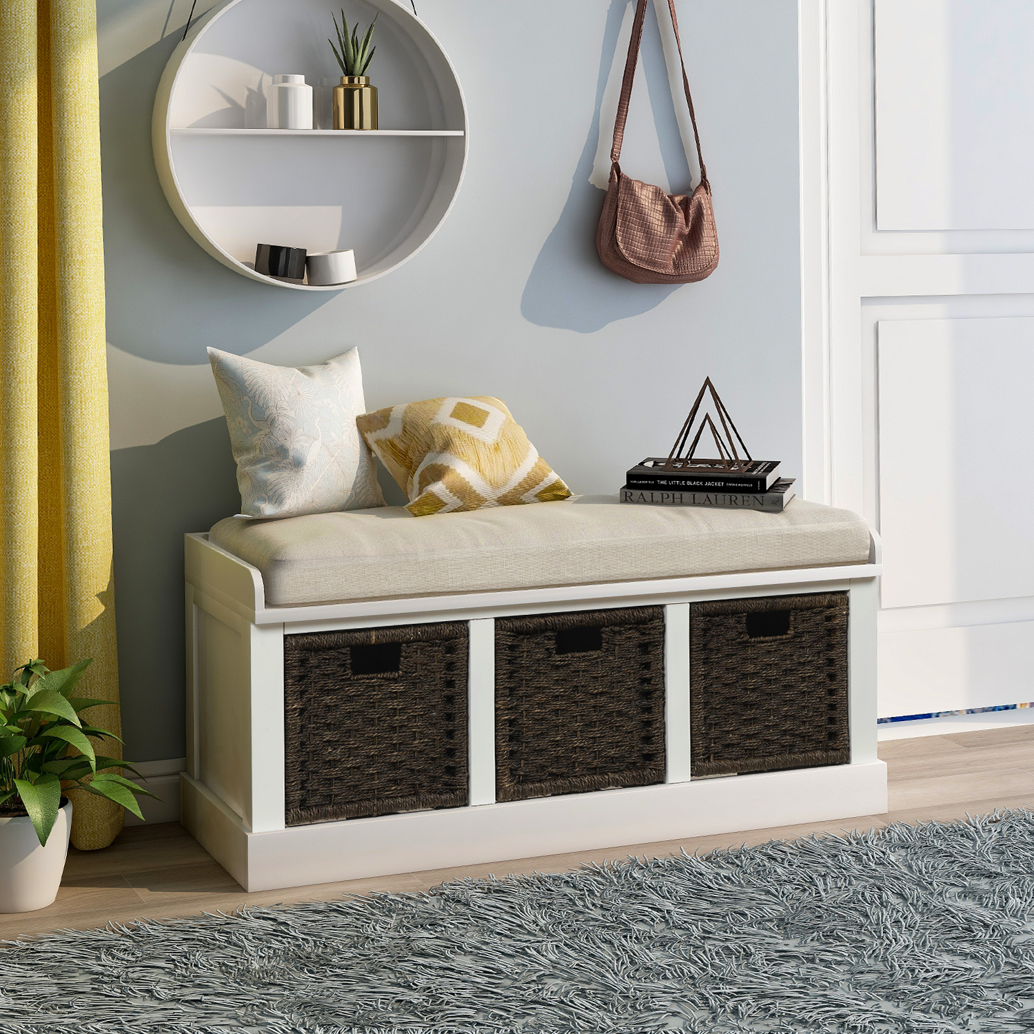 Rustic Storage Bench With 3 Removable Classic Rattan Basket