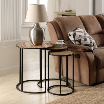Rustic Metal Nesting Side End Tables,Set Of 3