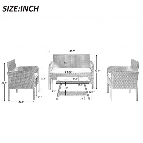 4 Piece Rattan Sofa Seating Group With Cushions