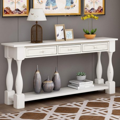 """64"""" Long Sofa Table With Drawers And Shelf"""