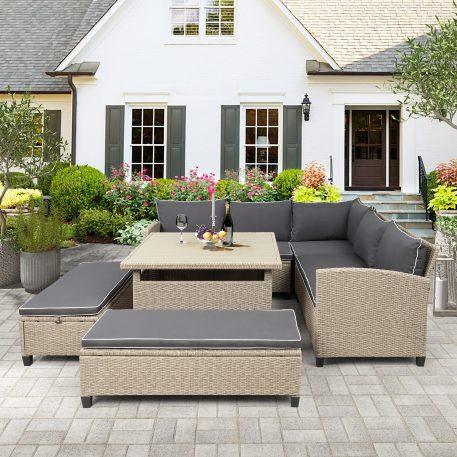 6-Piece Outdoor Wicker Rattan Sectional Sofa With Table And Benches