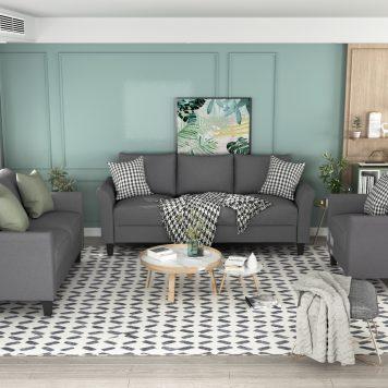 Polyester Blend 3 Pieces Sofa Set
